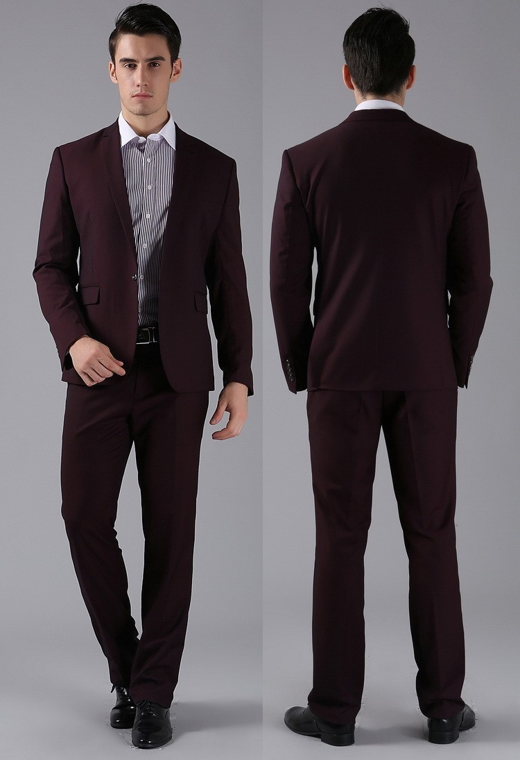 Slim Formal Custom made dark red high wool Suits Business suit ...