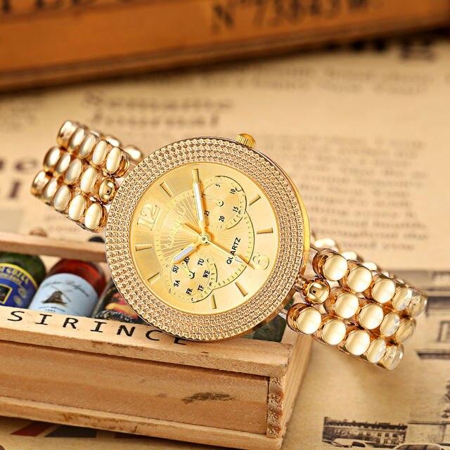 LIANDU Brand Women Quartz Watches CZ Diamond Jewelry Bracelet & Watch Set Gold Strap Women Dress Wristwatches feminino