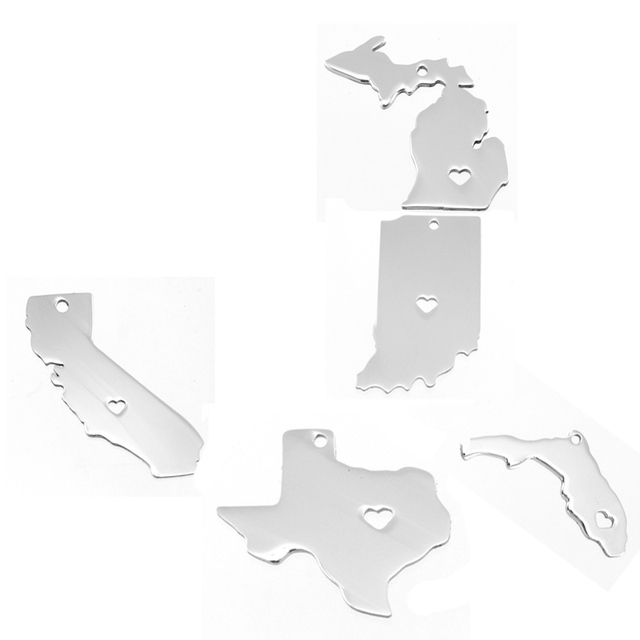 California,Florida,Texas,Michigan,Indiana Map Stainless steel US states pendant charms both sides mirror polished 100pcs