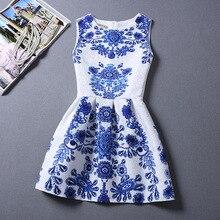 Bomhcs Для женщин сине-белые фарфор-пачка принцессы платье-майка без рукавов