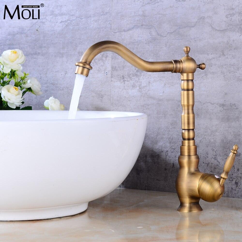Ванная комната раковина кран античная бронза закончил горячей и холодной воды смесителя кран с Pop Up ML312