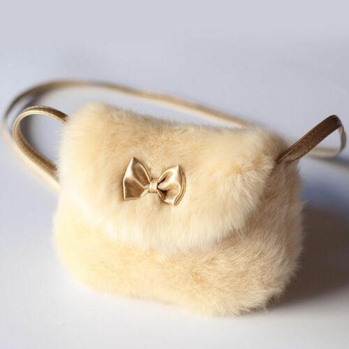 Cute Kids Children Girls Mini Bowknot Crossbody Bags Soft Fur Handbags Bag Purse