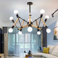 Art Deco Spider Led Chandelier Wood Adjustable Arms Tree Branch Home Decoration Living Room Creative Modern Light Nordic Lamp