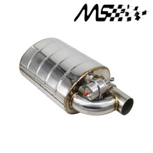 Stainless Steel 2.5 Slant Outlet Tip 3Inlet Weld On Single Exhaust Muffler with Two different sounds/Dump Valve Exhaust Cutout stainless steel 2 5 or 3 in out tip on single exhaust muffler dump valve exhaust cutout with wireless remote controller set