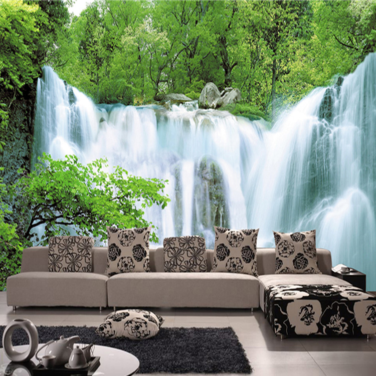 Custom Living Room Sofa Tv Background Wallpaper 3d Stereoscopic Large Mural Fabric Wall Paper Modern Fashion Falls Home Decor