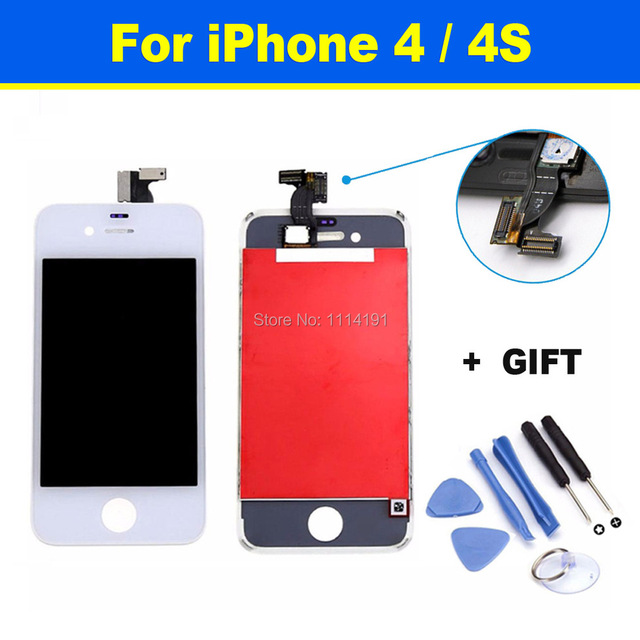 High Quality Complete Original LCD Display + Touch Screen Digitizer Panel + Holder Assembly Frame Replacement For iPhone 4 4S
