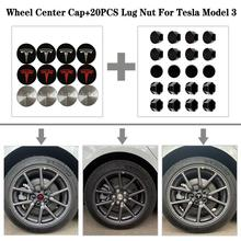 3Color Stainless Steel Wheel Center Caps Hub Cover+20 Pcs Wheel  Lug Nut Covers For Tesla Model 3 18 20