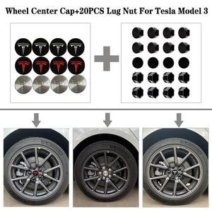 3Color Stainless Steel Wheel Center Caps Hub Cover+20 Pcs Wheel Lug Nut Covers For Tesla Model 3 18-20(China)