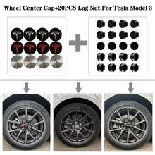 Tampas do centro da roda de aço inoxidável + 20 pçs, cobertura de porca de fechamento da roda para o modelo tesla modelo 3, 3 cores 18 20