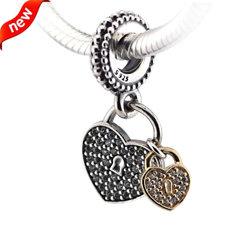 Adapte pandora bracelets serrures d'amour argent perles avec 14 k or d'origine 100% 925 en argent sterling charmes diy bijoux 09338