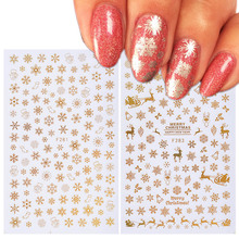 1 pcs Christmas 3D Nail Sticker Decal Snowflake Nail Sticker Tip Gold Silver Nail Wrap Manicure Nail Art Decoration TRF267-284-1