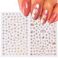 1 pcs Christmas 3D Nail   Sticker     Decal   Snowflake Nail   Sticker   Tip Gold Silver Nail Wrap Manicure Nail Art Decoration TRF267-284-1