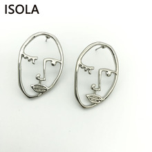 ISOLA Hollow Face Shape High Quality Cooper Pressed Eyebrow Charming Statement Dangle Earrings Gift Drop Earrings For Woman