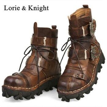 Мужские рабочие ботинки из натуральной воловьей кожи в стиле милитари, ботинки в готическом стиле с черепом, мотоциклетные ботинки martin в ст...