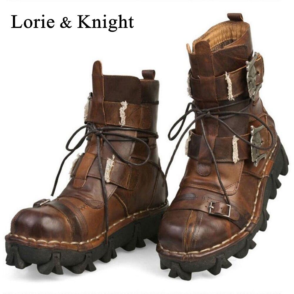 De los hombres de cuero de vaca de cuero genuino botas de trabajo militar botas de combate cráneo gótico Punk motocicleta botas Martin