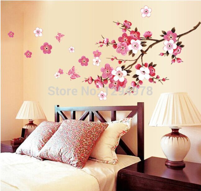 Pink Flowers Erfly Bathroom Decor Removable Large Wall Stickers Princess Love Room Decoration Art Poster Mirror Decals In From Home
