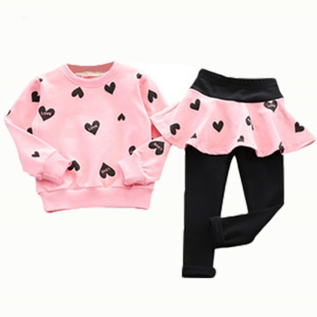 2016 autumn children clothing heart long sleeve sweater + pants skirt fashion baby sport suit tracksuit for girls kids chothes