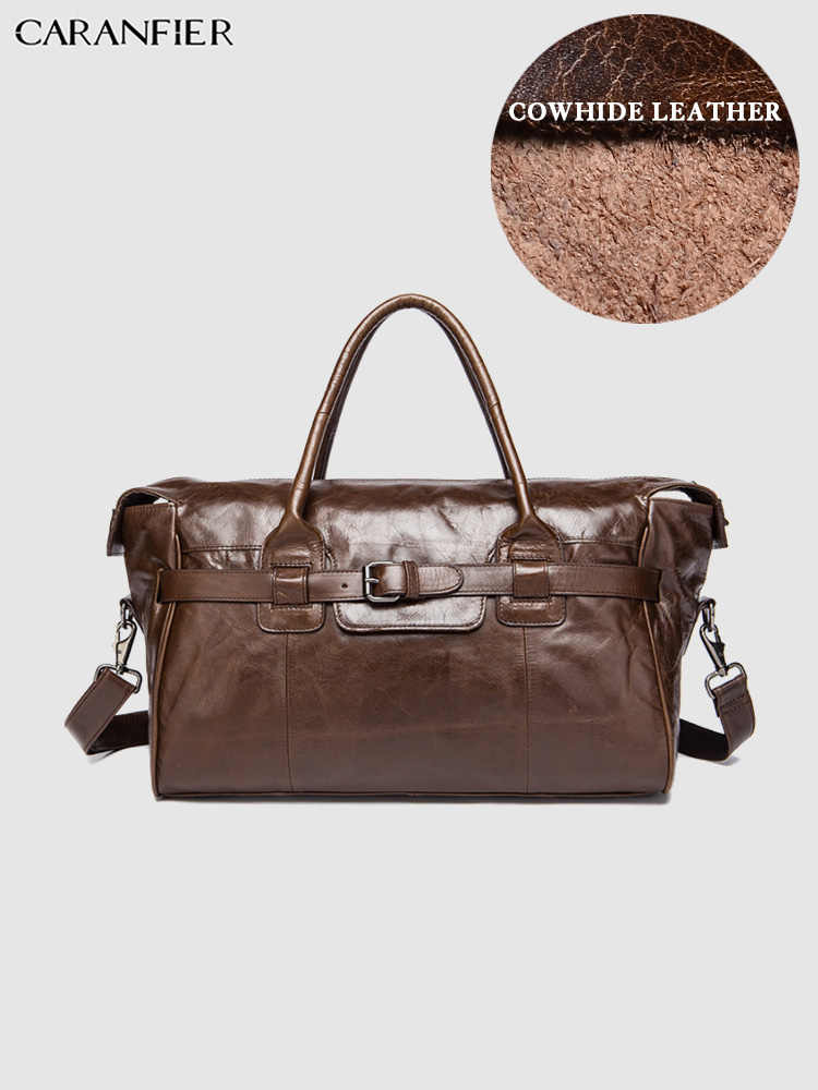 CARANFIER Мужская Дорожная сумка из натуральной воловьей кожи Кожаный Чемодан большой емкости винтажный бизнес багаж мужской вещевой рюкзак Mochila Masculina