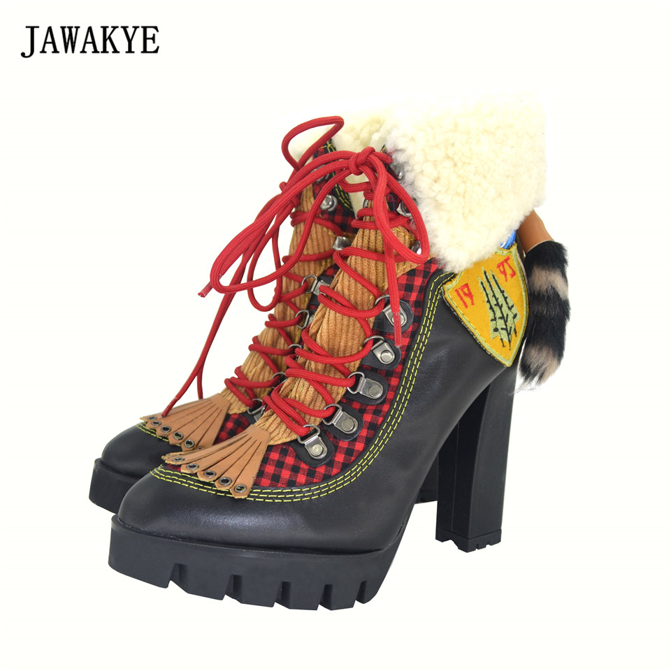 JAWAKYE Winter New Sexy Chunky high heel Platform Ankle Boots Women Wool Fur Leather lace up Snow Boots Women Motorcycle Boots