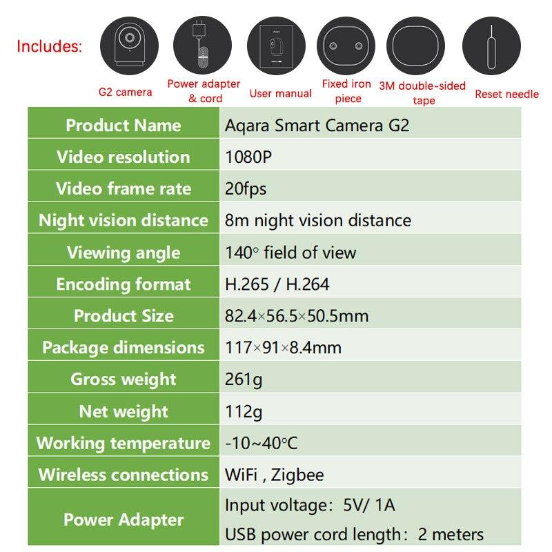 Xiaomi Mijia Aqara Smart 1080 P Cámara G2 Gateway edición Zigbee vinculación IP inalámbrica Wifi nube de seguridad dispositivos inteligentes - 6