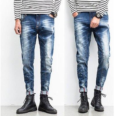 Mens Designed Straight Slim Fit Biker Scratched Jeans Pants Skinny Denim Trousers