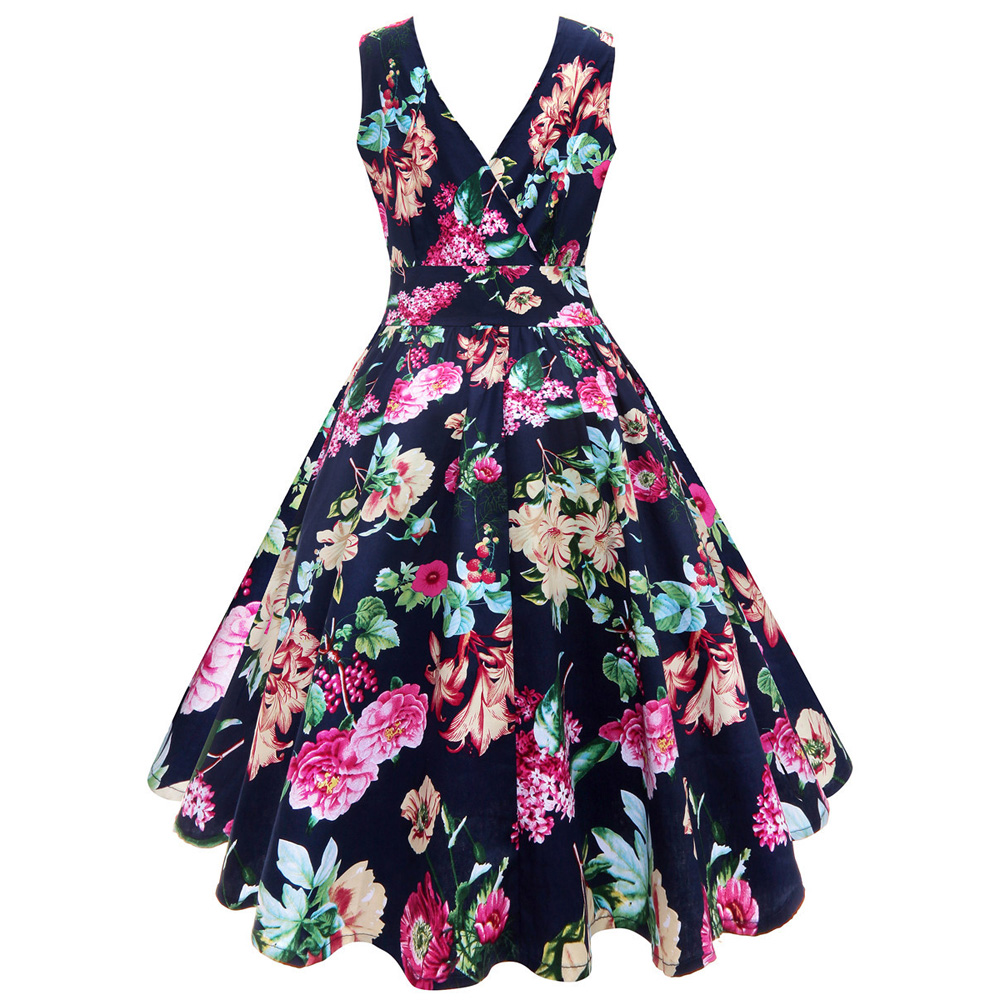 ea302550a002c US $17.02 5% OFF|Women Plus Size Dress 4xl 5xl Floral Print Robe Vintage  Gown Sleeveless Summer Tunic Swing Party Midi Pin Up Rockabilly Dresses-in  ...