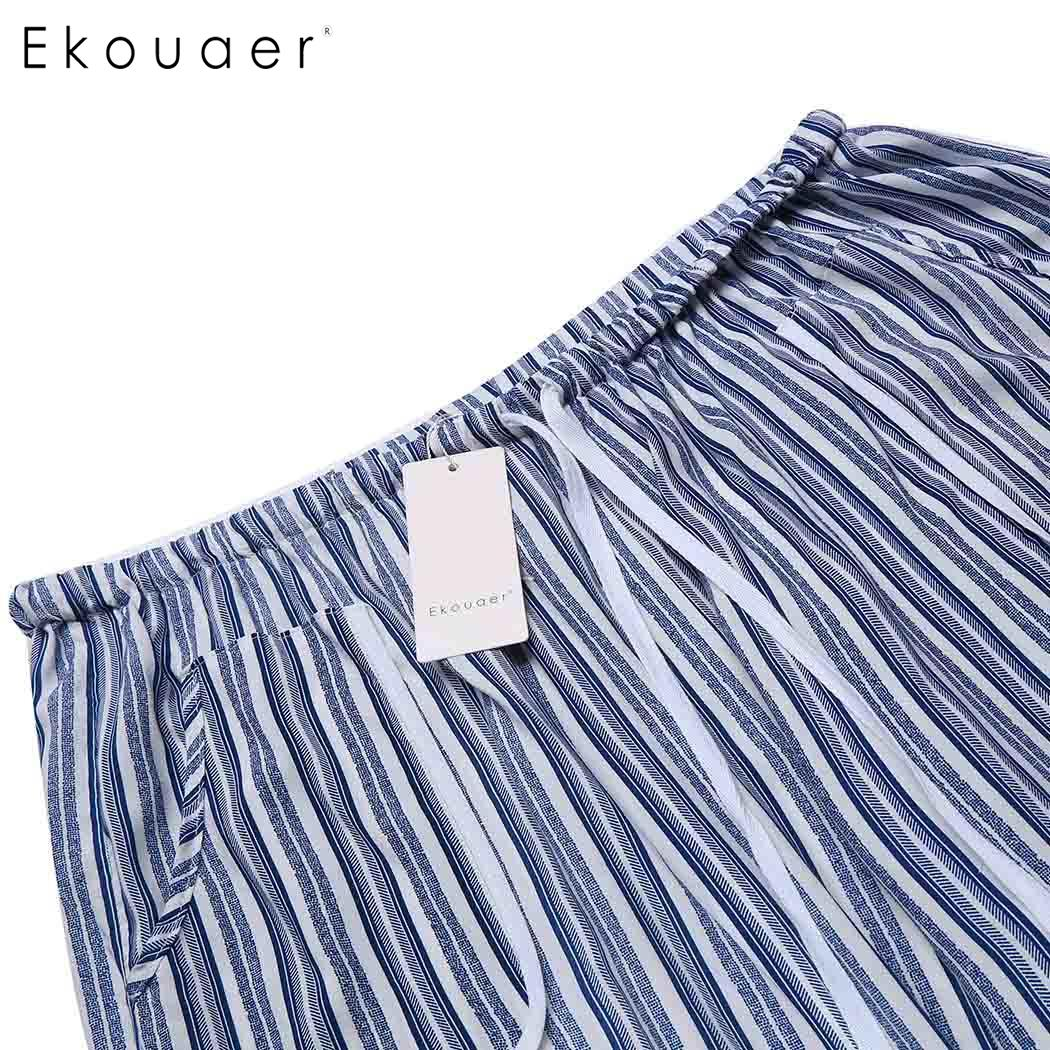 Ekouaer Sleepwear Women Drawstring Waist Striped Casual Loose Pajama Pants Plus Size 5
