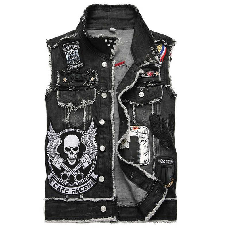 European Designer Punk Biker Mens Jean Vest Skull Cowboy Cool Summer Waistcoat Sleeveless Overcoat Automotive Vest For Man B369