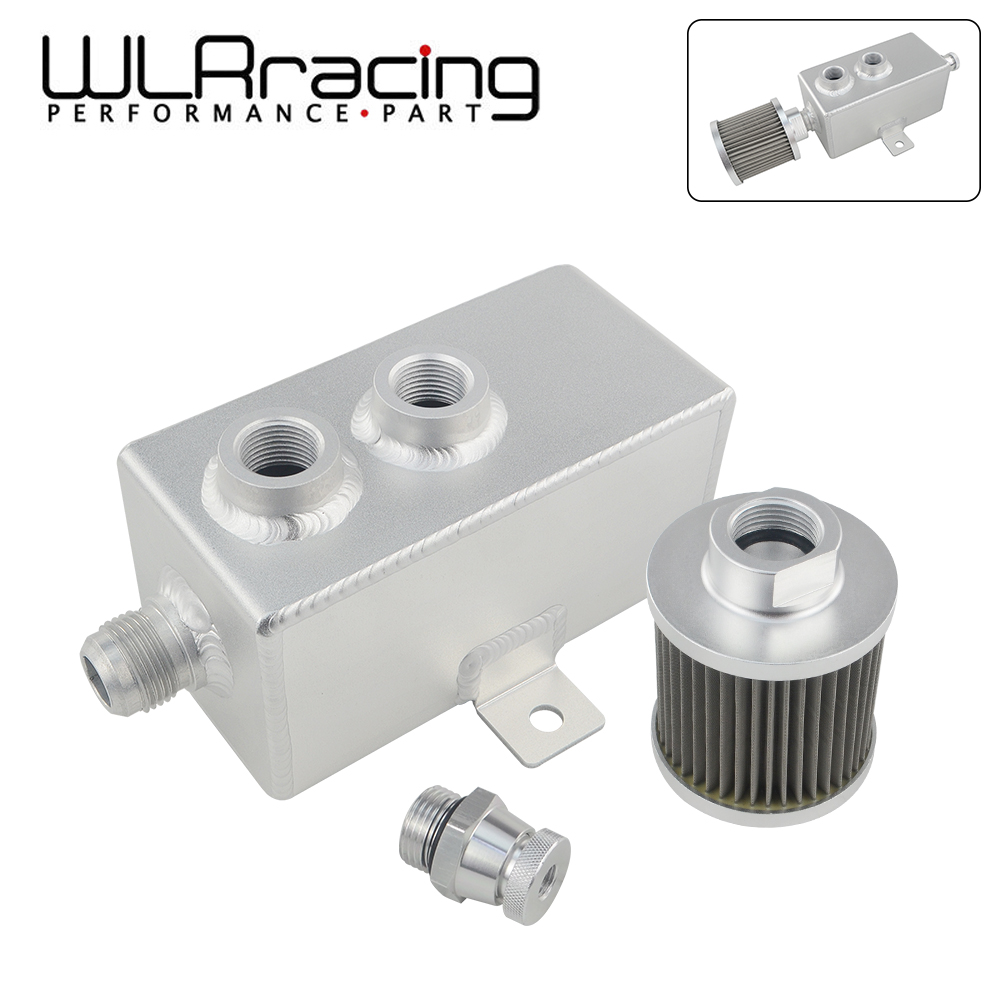 Top10 Racing Oil Catch Can Tank with Breather and Drain Tap 1L Baffled Reservoir Tank Aluminum Silver