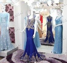 Luxus Royal Blue Party Kleider Kristall Stickerei Neue Ankunft 2016 Echt Bild Lange Meerjungfrau Abendkleid Vestido De Festa