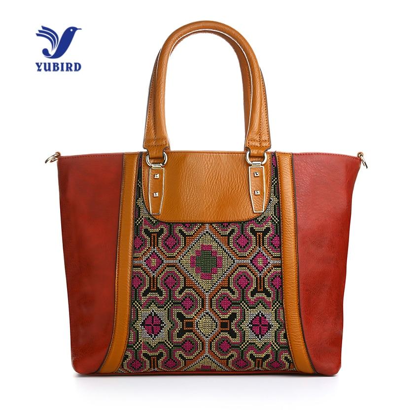 YUBIRD Vintage Embroidery Female Bags High Quality Handbags Brands Shoulder Hand Bag Patchwork PU Leather Women Big Tote Bag