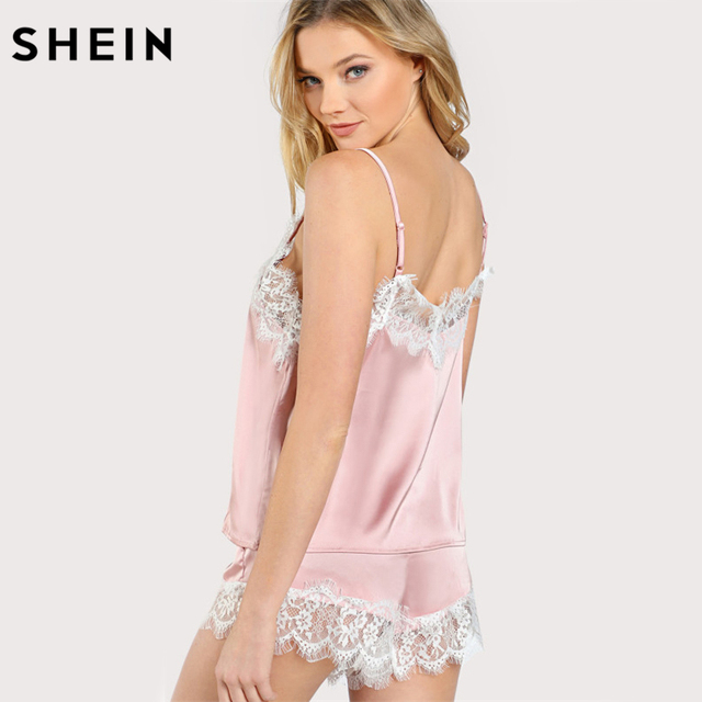 85b034d4cf81d3 ... Lace Trim Satin Spaghetti Strap Cami Top and Shorts Pajama Set. Previous.  Next