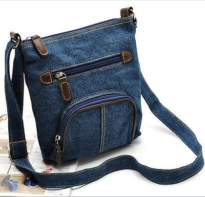 Blue Casual Denim Shoulder Messenger Cross Body Satchel Bag Handbag