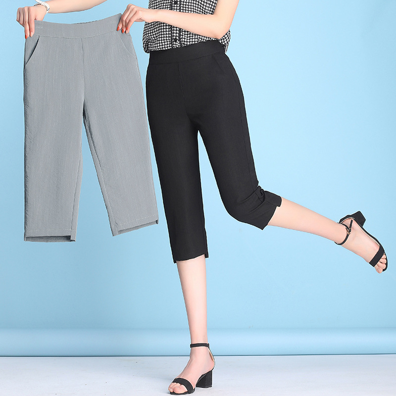 2019 summer thin cropped trousers women cool ice silk cotton linen pencil   pants     capri     pants   plus size 4XL Female casual   pants
