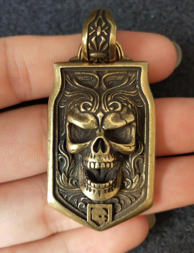 Collection archaize brass skull head whistle key ring Pendant