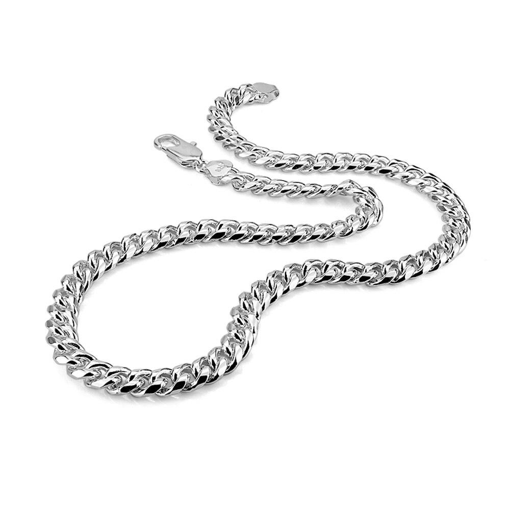 Mode européenne solide 925 argent collier pendentif colliers ensemble Vintage des hommes simple cou lien hommes chaîne collier