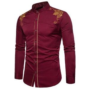 Image 3 - Ab boyutu erkeklerin gündelik uzun kollu gömlek standı boyun çin tarzı üstleri gömlek erkek nakış desen pamuk blend gömlek