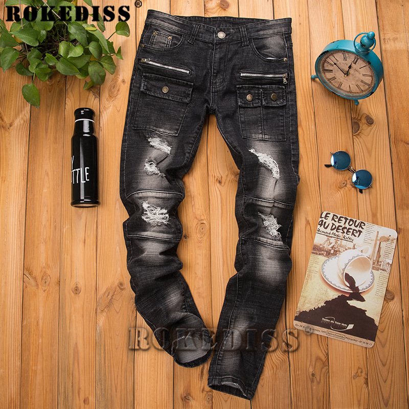 Skinny jeans men 2017 Spring and Autumn fashion New products Feet Slim Tide male Motorcycle pants