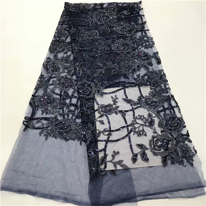 new design Black green lake blue shinning glitter Embroidered net sequins Lace Fabric Glued Glitter tulle