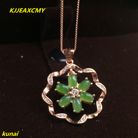 KJJEAXCMY boutique jewels 925 silver Natural green jade pendant necklace send female jewelry gemstone