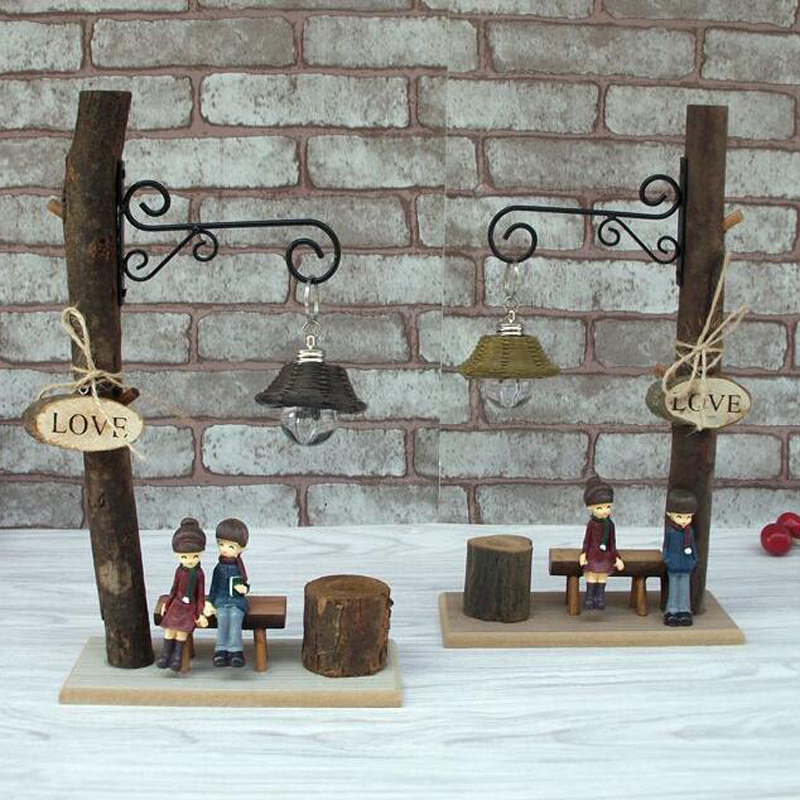 wooden lamp home table decoration resin figurine room ornament holiday gifts in figurines. Black Bedroom Furniture Sets. Home Design Ideas