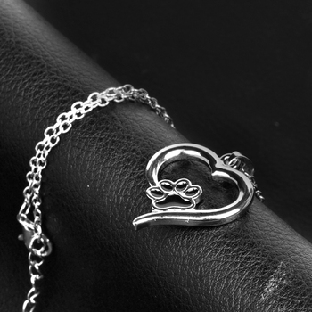 Hollow Pet Paw Prints Necklaces Cute Animal Dog cat Memorial jewelry Pet Lover Puppy Paw Heart Charm Black Enamel Necklace Girls 1