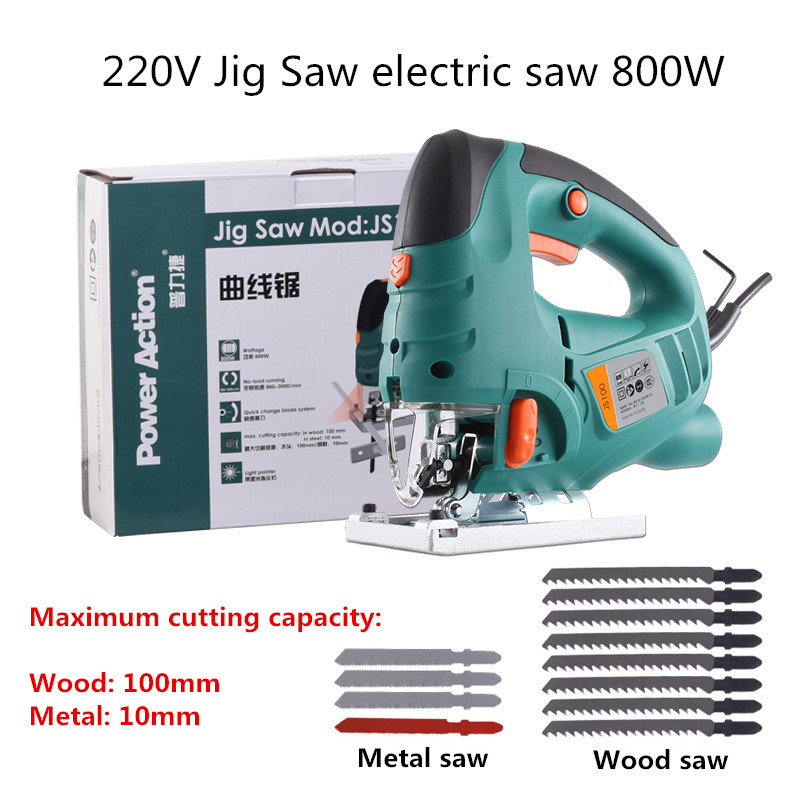 220V Electric jig saw woodworking power tools laser chainsaw cutting machine 800W with 12pcs Saw blade Y цена
