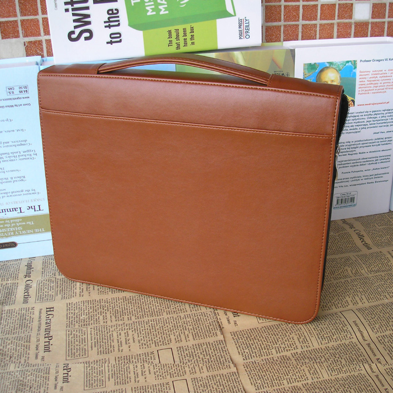 A4 Zipper Leather Document Folder Bag Business File Folder