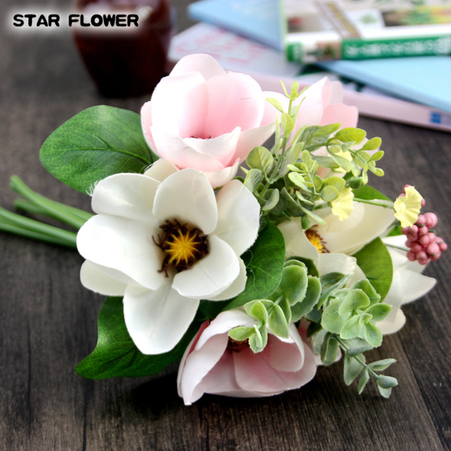 STAR FLOWER High Quality 1bouquet silk Magnolia flower artificial ...