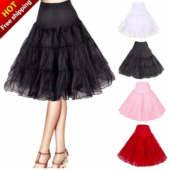 Free Short Organza Halloween Petticoat Crinoline Vintage Wedding Bridal Petticoat for Wedding Dresses Underskirt Rockabilly Tutu
