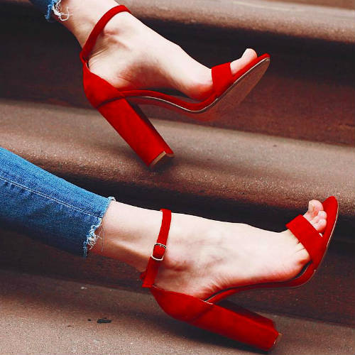 Cheap Price Red Suede High Heel Sandal 2017 Open Toe Chunky Heels ...