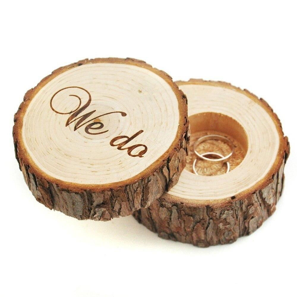 1 Pc Neue Holz Gedruckt Wir Shabby Chic Rustikale Hochzeit Ring Bearer Storage Box Halter
