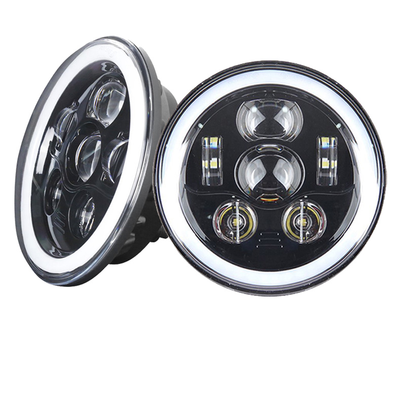 7inch Halo Headlights with DRL Angel Eyes w/ Amber Turn Signal lamp for Jeep Wrangler JK CJ Hummer led Projector Driving lamps.