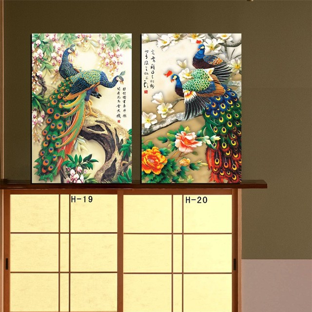 Us 15 8 2 Piece Wall Canvas Art Peacock Painting Modern Office Wall Painting Painting Peacock Feathers Home Decoration In Painting Calligraphy